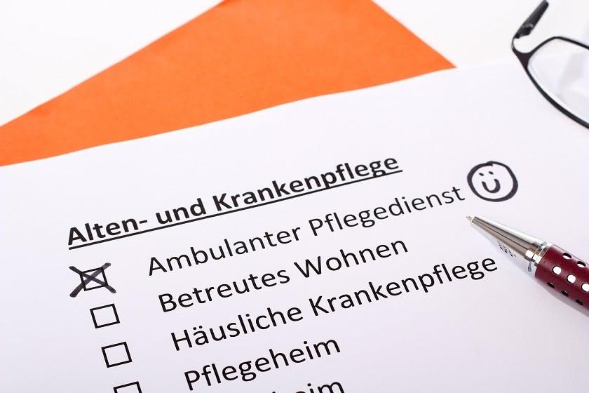 Formular mit Beschriftung Ambulanter Pflegedienst
