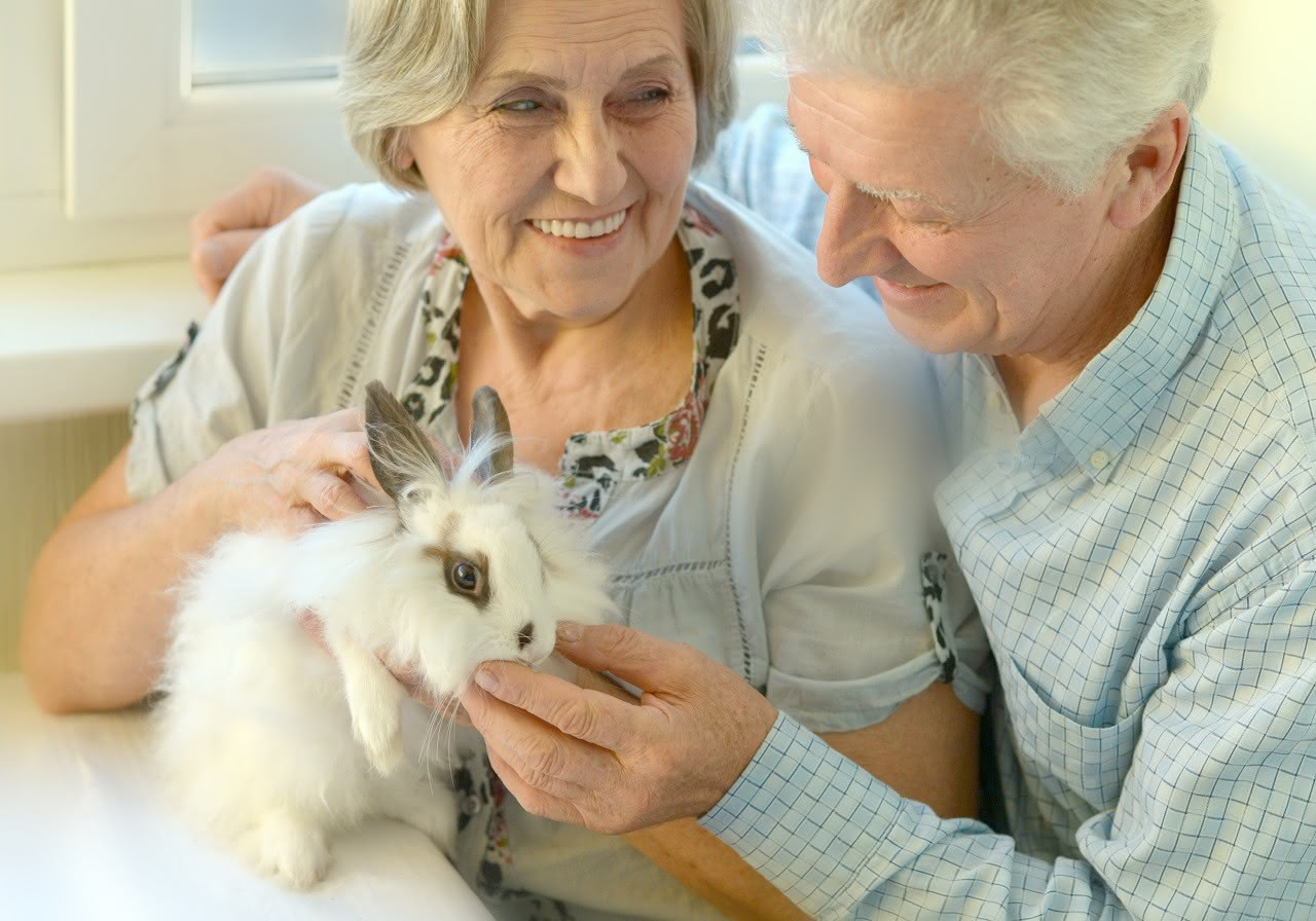 Rentnerpaar mit Kaninchen