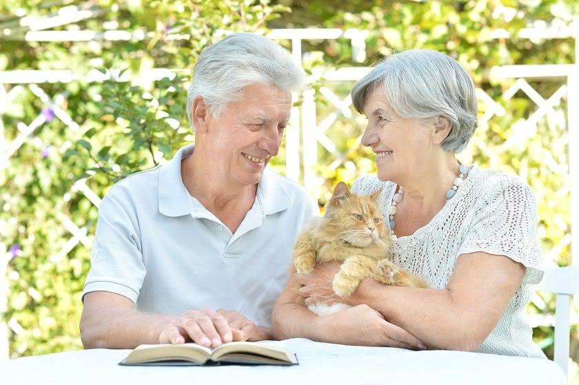 Seniorenpaar mit Katze