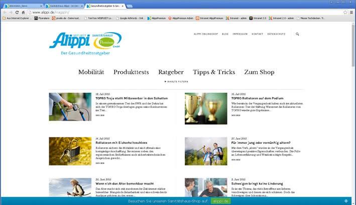 Screenshot Alippi Premium Magazin