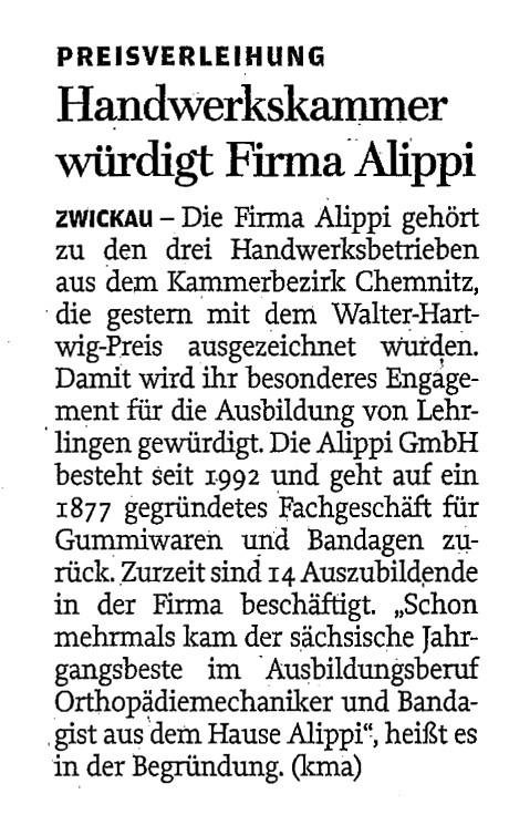 Walter-Hartwig-Preis 2015 für Alippi, Freie Presse