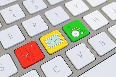 Symbol für Krankenpflege und Medizin auf der Tastatur von einem Computer
